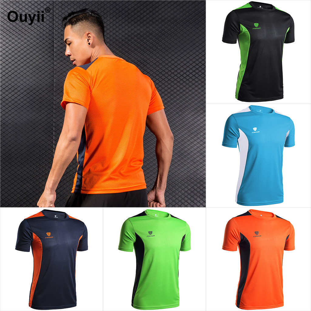 Men/'s Short Sleeve Quick Dry Soccer Sports Running Workout T-Shirt Gym Tops USA
