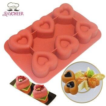 6-cavità di San Valentino a Forma di Cuore Stampo In Silicone per Muffin, Sapone, Cupcake, Cioccolato, budino e Jello Cheesecake Che Decora Attrezzo