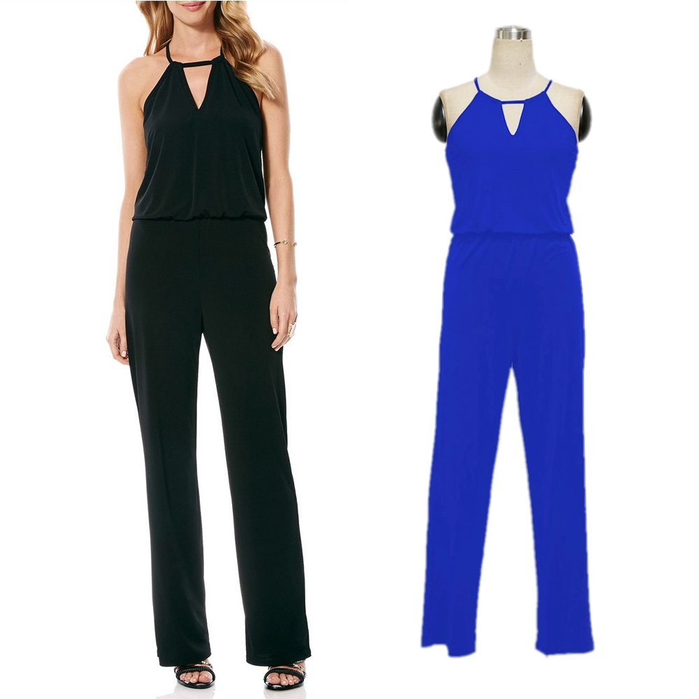 FK1048 Lady Fashion Halter Jumpsuits Solid Color Sleeveless Hollow out Slim Waist Onepiece Full Length Loose Pants Daily Rompers