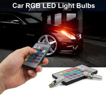 2Pcs 12V LED Car Light With Remote Control T10 5050 SMD RGB Dome Wedge Strobe Lamp Bulbs Car-styling 3000K~12000K стоимость