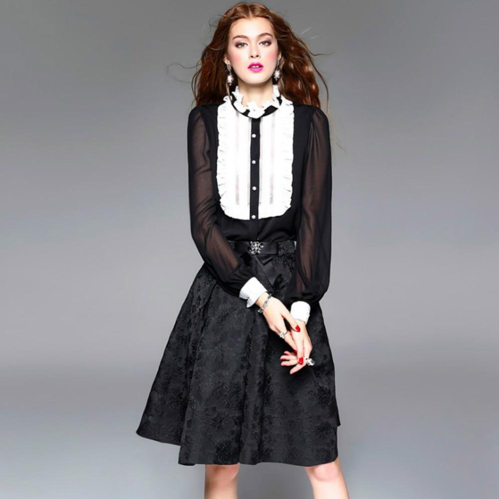 Soie Haute Noir blanc Chemises Patchwork De 2017 Femmes D'été Blouses Dorla Classique Rétro Cool Blanc Blouse Noir Top Tops Qualité Nouveau Z1wqI