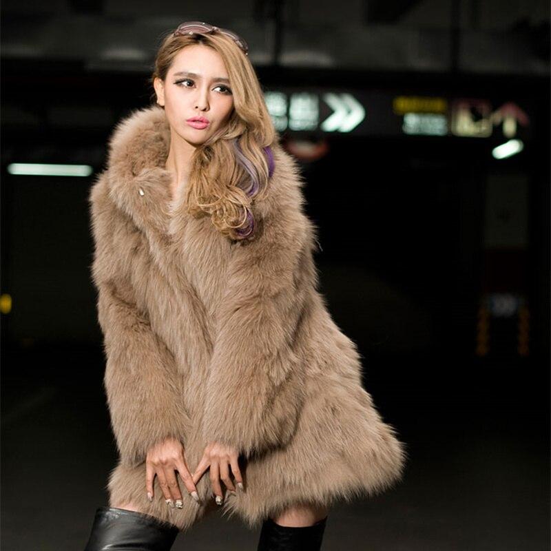 2019 Autumn Winter Fake Fox Fur Coat Women Hooded Imitation Fox Fur Plus Size ladies Elegant