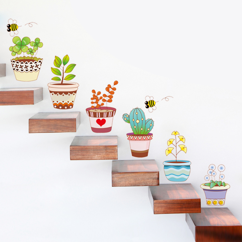 Kids Pastoral Bonsai Pot Flower plant sofa decoration window stickers decorative home decal living room poster decor