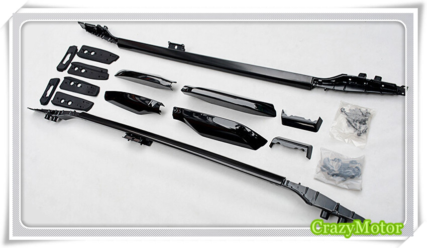 Black Top Roof Rack Rails Luggage Carrier Bars For Toyota Land Cruisr Prado FJ150 2010 2011 2012 2013 2014 2015 2016 2017 silver top roof rack rails luggage carrier bars for honda crv 2012 2013 2014 2015