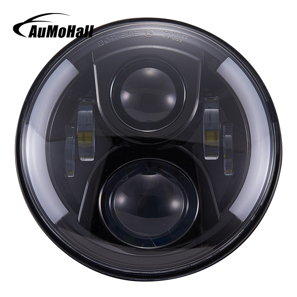 AuMoHall 2 pcs Round 7 inch 60W Headlight H4 Head Light Lamp DRL with Angel Eye Hi-Lo Beam Halo Ring 7 60w round car led headlight with halo angel eye