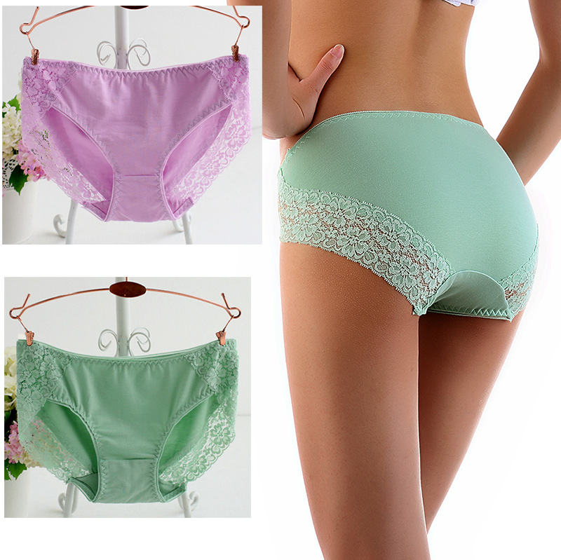 New Women Cotton   Panties   Solid Color Seamless Briefs Sexy Lace Lingeries Women's Plus Size Underpants