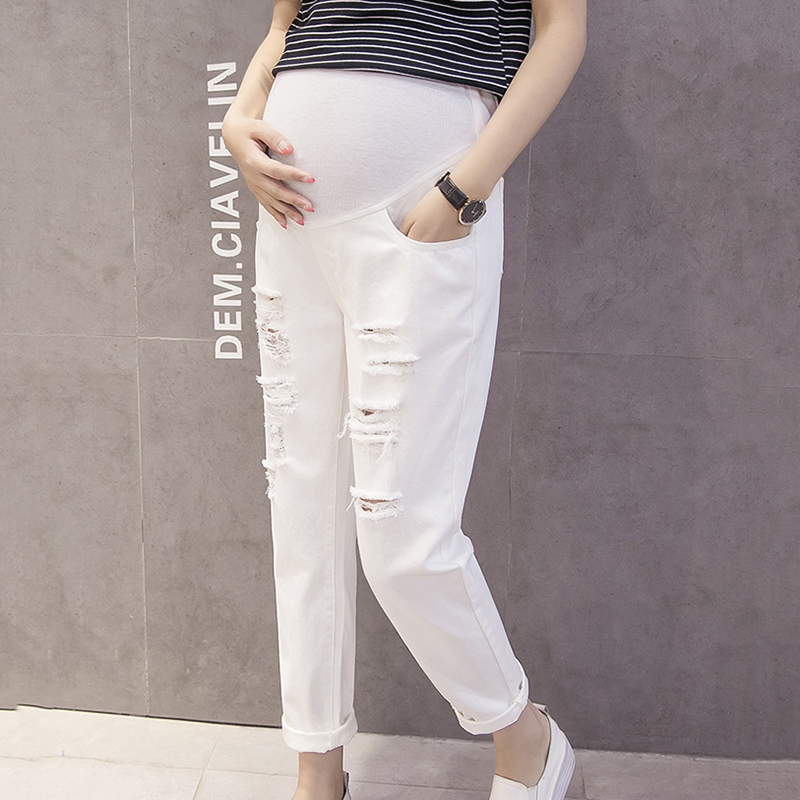 Maternity Clothes Pregnancy Jeans Adjustable High Waist Denim Pants Pockets Spring Casual Ripped Hole Jeans for Pregnant WomenMaternity Clothes Pregnancy Jeans Adjustable High Waist Denim Pants Pockets Spring Casual Ripped Hole Jeans for Pregnant Women