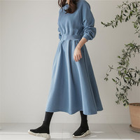 spring autumn Korean style pocket dress ladies solid color loose t shirt dress women with belt long sleeve