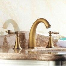 Atacado E Varejo de Bronze Antigo Banheiro Generalizada Torneira Bacia Dupla Handles Vanity Sink Mixer