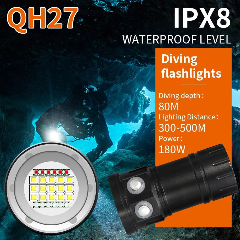 Tinhofire QH27 IPX8 180 Вт 18000LM белый красные, синие светодиодный фонарик Дайвинг Подводные 80 м фотографии видео Подводное фото заполняющий свет