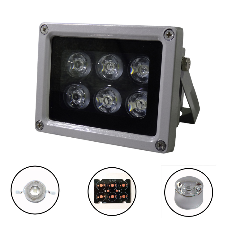 CCTV Camera accessories Infrared lamp 6pcs White Led IR Light Outdoor Waterproof Night Vision for CCTV