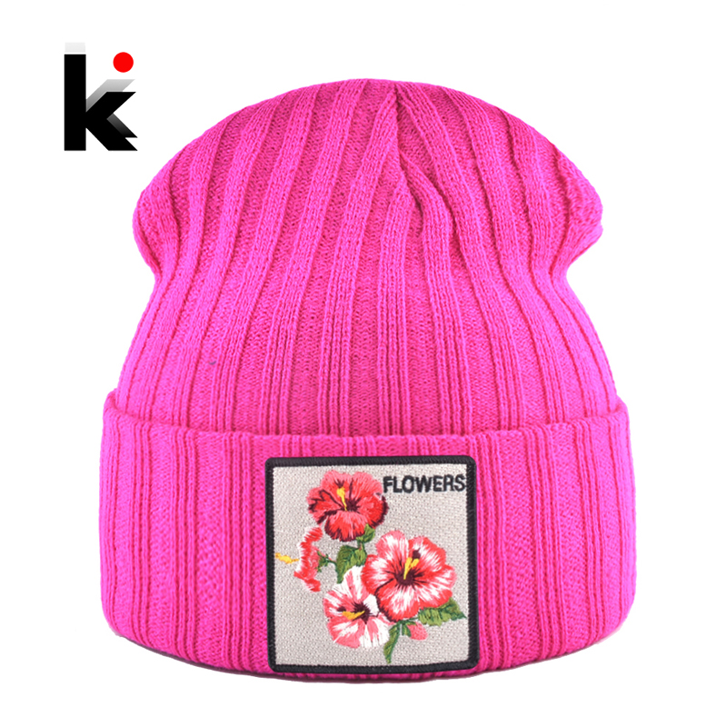 Women's Hat With Flower Patch Autumn Winter Knitted Skullies Beanies Women Winter Soft Double Layer Knit Bonnet Caps Men Gorras