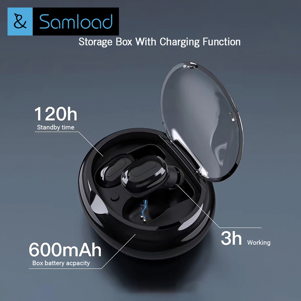 Samload TWS Mini Wireless Earbuds Twins Earphone Bluetooth Headphone With Battery Box Noise cancel Headset for Phones