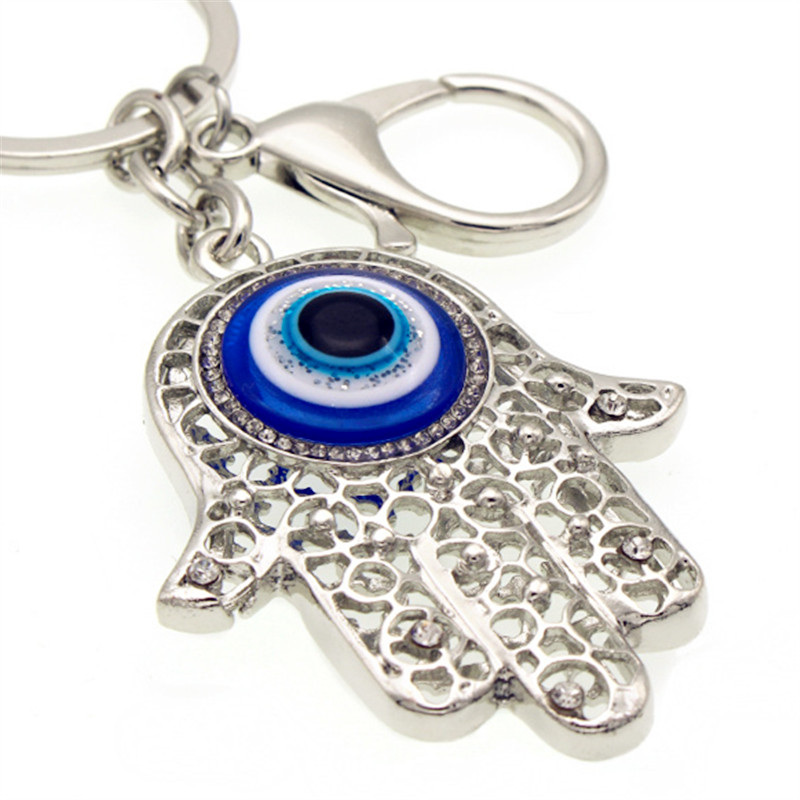 Linnor Charm Amulet Hamsa Fatima Hand Evil Eye Keychains Crystal Rhinestone Jewelry Purse Bag Pendant for Women Accessories