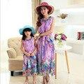 Мать дочь платья одежды богема детская летнее платье из шифона пляжный отдых платье девушки семья взгляд 5 - 10 лет