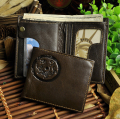 Top Quality Cattle Men male design vintage Brown Genuine leather Vertical Credit Card Cash Wallet Purse With Snap