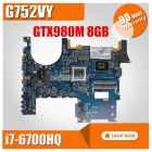 G752VY MB. 0M/I7-6820HK/AS V8G 90NB09V1-R00031 motherboard For Asus ROG G752 G752V Laptop motherboard Mainboard