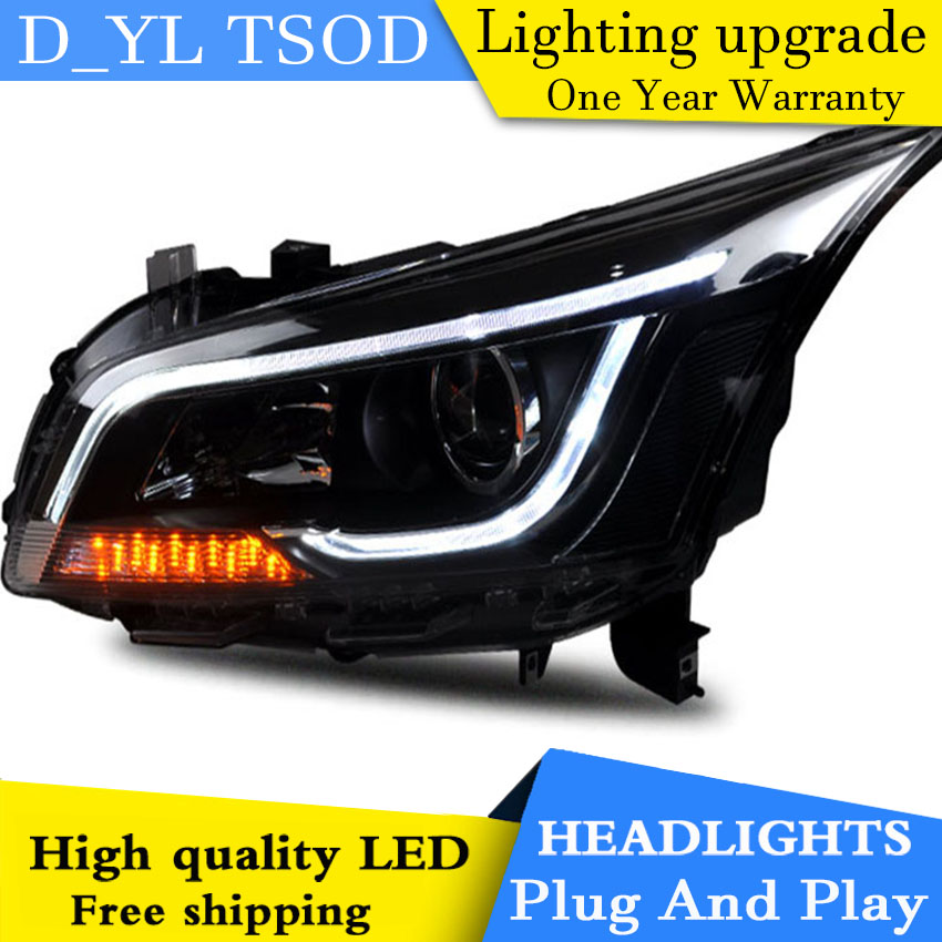 D YL Car Styling for Chevrolet Cruze Headlights 2015 2016 Cruze LED Headlight DRL Lens Double