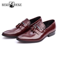 Fashion 100 Genuine Leather Men Formal Shoes Slip On Mens Pointed Toe Business Shoes Male Footwear