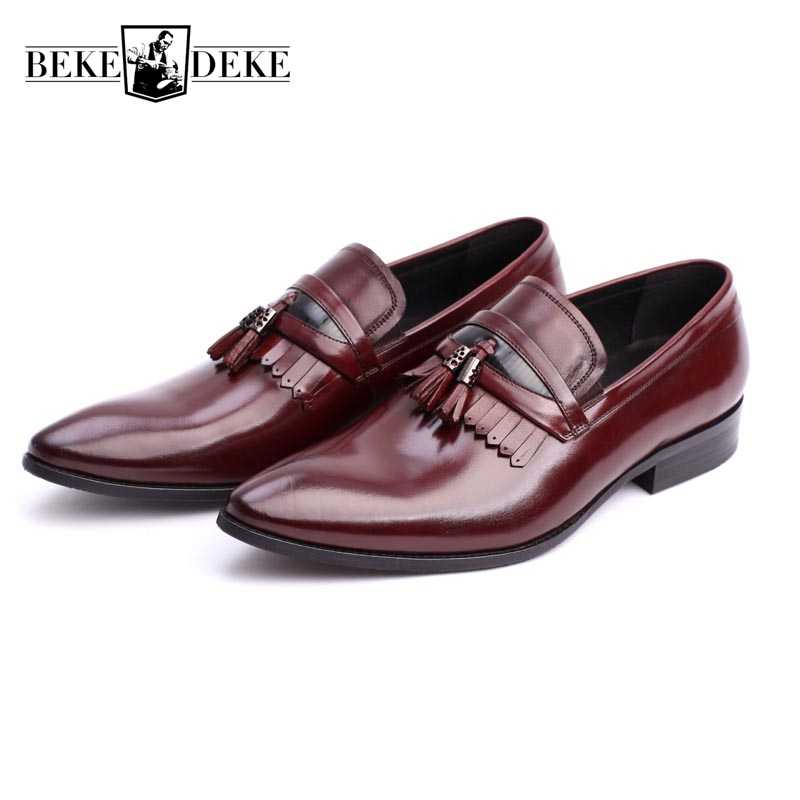 Fashion 100% Genuine Leather Men Formal Shoes Slip On Mens Pointed Toe Business Shoes Male Footwear Brand High Quality Black wonzom high quality genuine leather brand men casual shoes fashion breathable comfort footwear for male slip on driving loafers