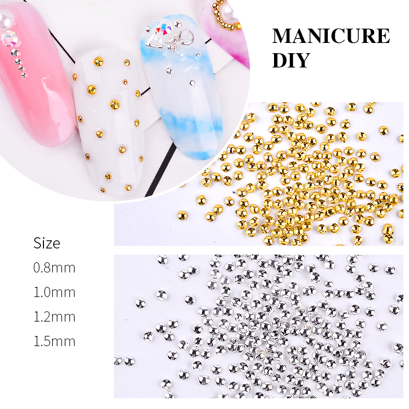 1 pack 3D Metal Charm Nail Art Decorations Gold Silver Color Caviar Beads Semicircle Design <font><b>DIY</b></font> Manicure Accessories Tools image