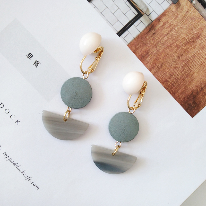 Clip-Earrings Disc-Slice Geometry No-Piercing-Hole Semi-Circle Round Ears Women Wood