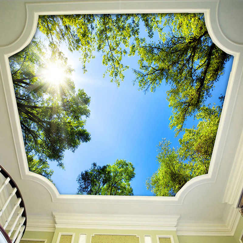 العرف ثلاثية الأبعاد جداريات خلفية المشهد السماء السقف جدارية خلفية أشعة الشمس الغابات الخضراء فندق مطعم غرفة المعيشة خلفية