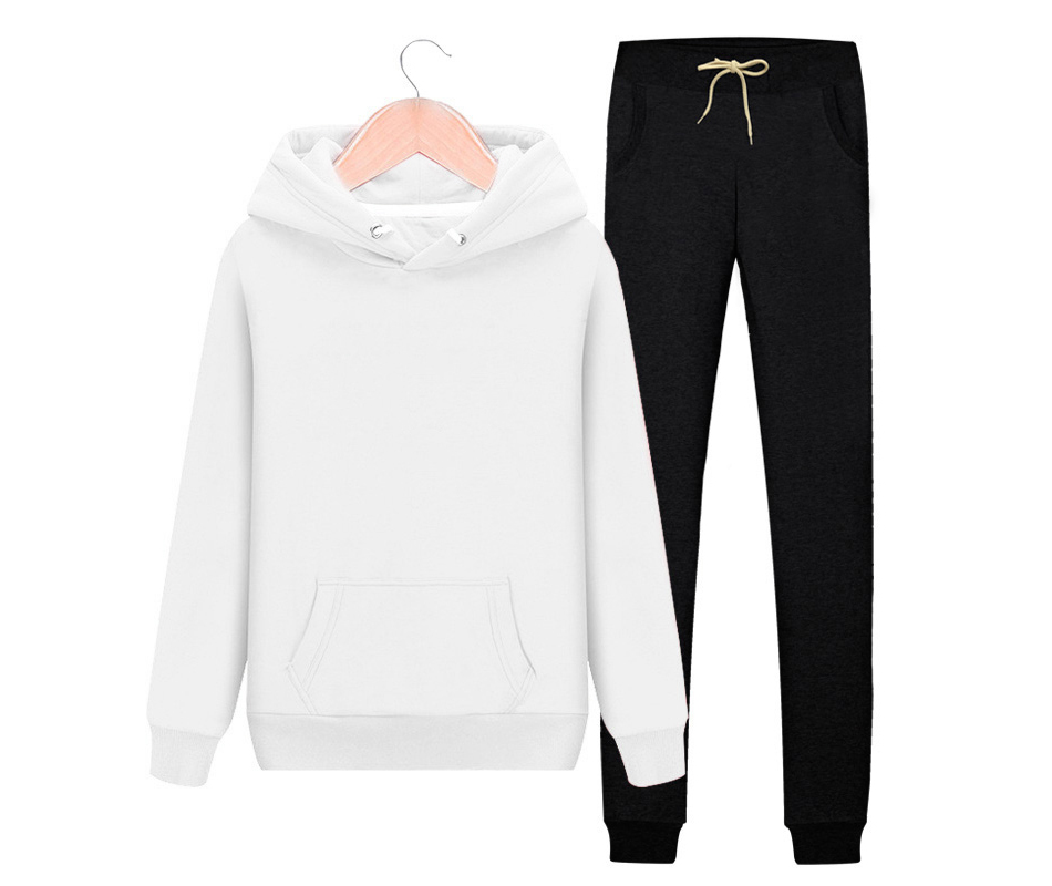 Women's Autumn Winter Cotton Tracksuit Hoodie+Splice Long Pants 2Pc Set 5