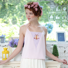 LYNETTE'S CHINOISERIE 2016 Summer New Arrival Original Design Women High Quality Insect Embroidery Pink Purple Patchwork Camis