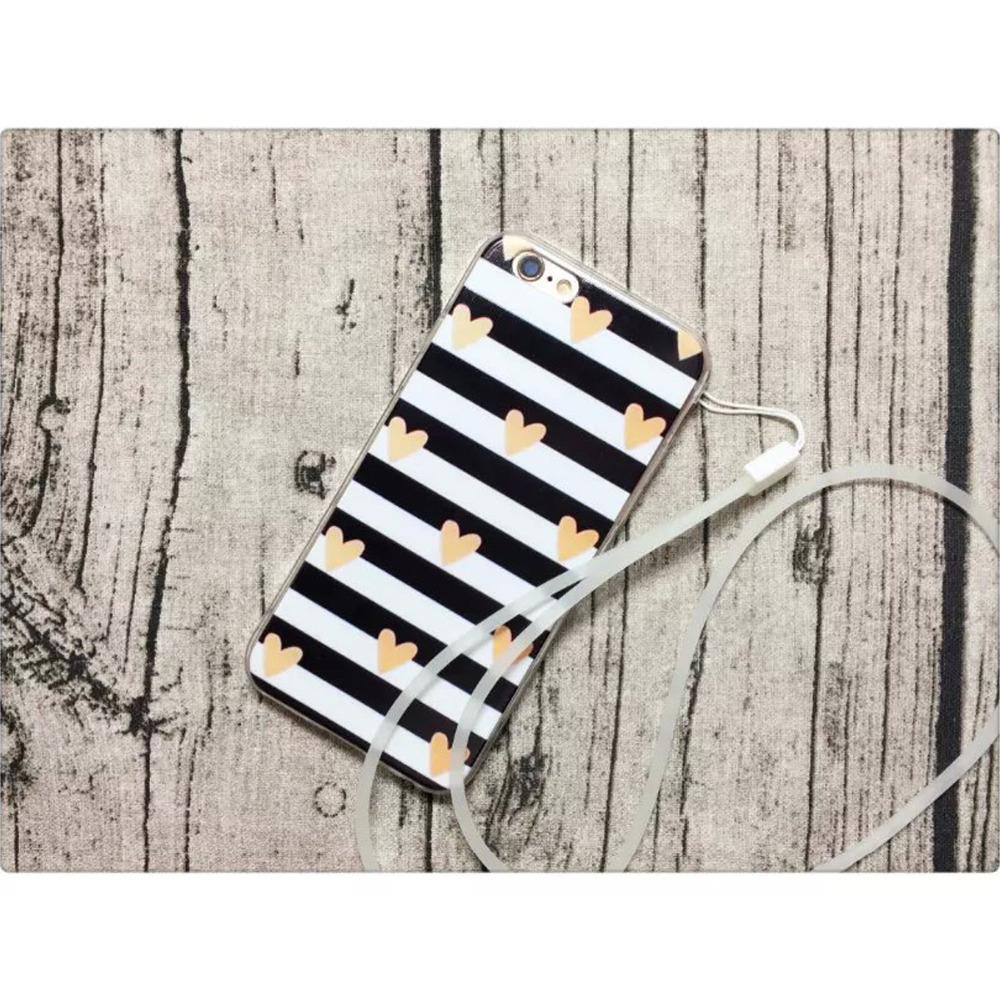Fundas Phone Cases for iPhone 6 & 6S Matte Texture Black and White Stripes Pattern Hard Back Cover Etui TPU Silicon coque case