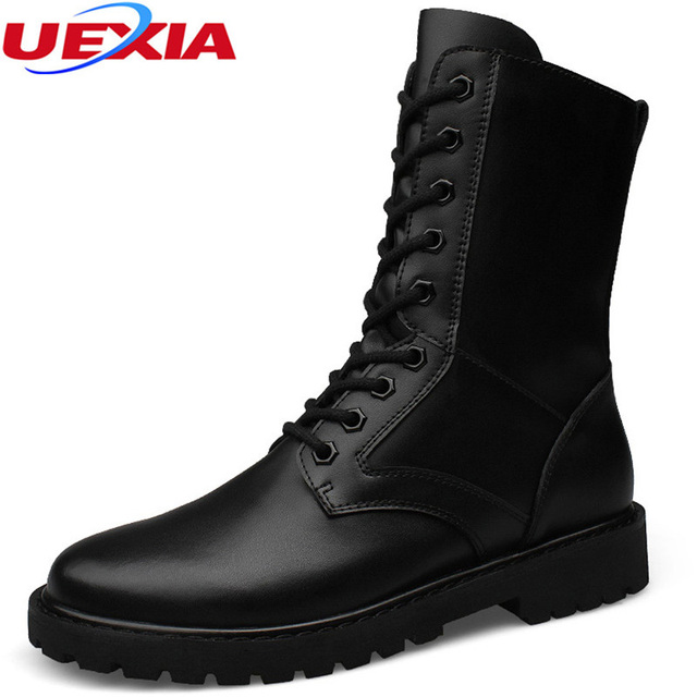 Осень короткие зимние армейские ботильоны Мужские ботинки из качественной кожи до середины икры износостойкие мужской Армейские сапоги Высокое качество супер большой Размеры