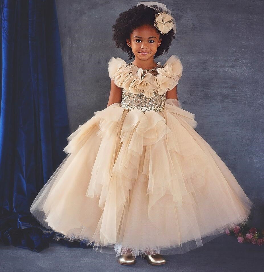 8ef6d824e892 Gorgeous ruffles soft tiered tulle champagne bling sequins baby birthday party  dresses ball gown toddler girl glitz pageant gown