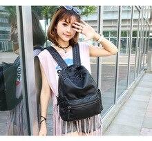 2017 г. Женские Натуральная кожа рюкзак дамы сумки на ремне рюкзаки для девочек-подростков школьная сумка женская через плечо сумки кисточкой C243
