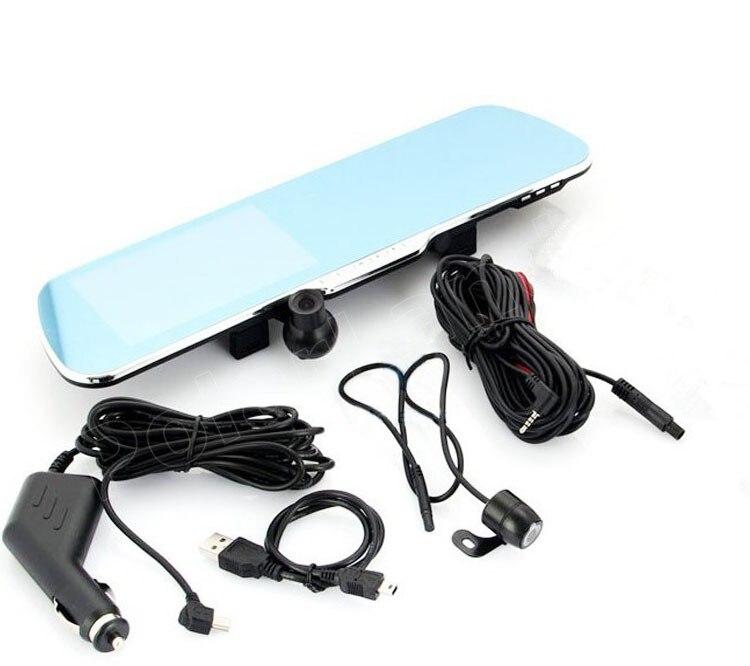 4,3 pulgadas espejo de revisión DVR de coche incluye cámara trasera de visión nocturna inversa de doble lente videocámara dash cam video grabadora de conducción - 3