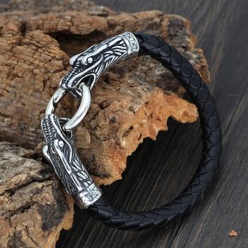 316l Stainless Steel Leather Norse Viking Dragon Head Bracelet  Viking Bracelet