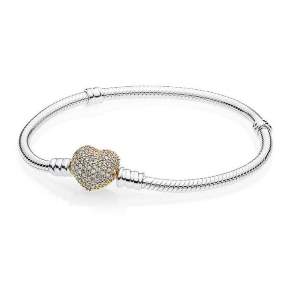 Authentic 100% 925 Sterling Silver Snake Chain Gold Heart Moments Pave Heart Clasp Pandora Bracelet Women Charm Bead Jewelry