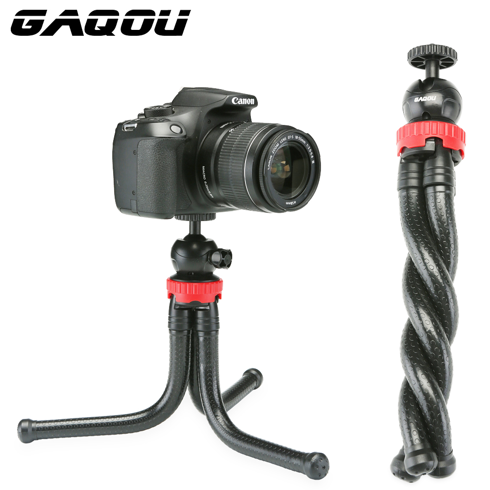 GAQOU Travel Flexible Octopus Mobile Phone Tripod With Holder Adapter for iPhone DSLR Digital Camera Nikon Gopro Mini Gorillapod universal cell phone holder mount bracket adapter clip for camera tripod telescope adapter model c