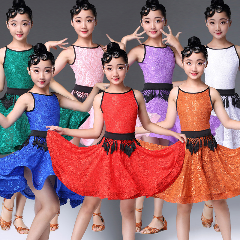 Latin Dance Dress Kids Sleeveless Lace Latin Competition Dresses Girls Clothes Rumba Samba Salsa Cha Cha Performance Wear DN2703
