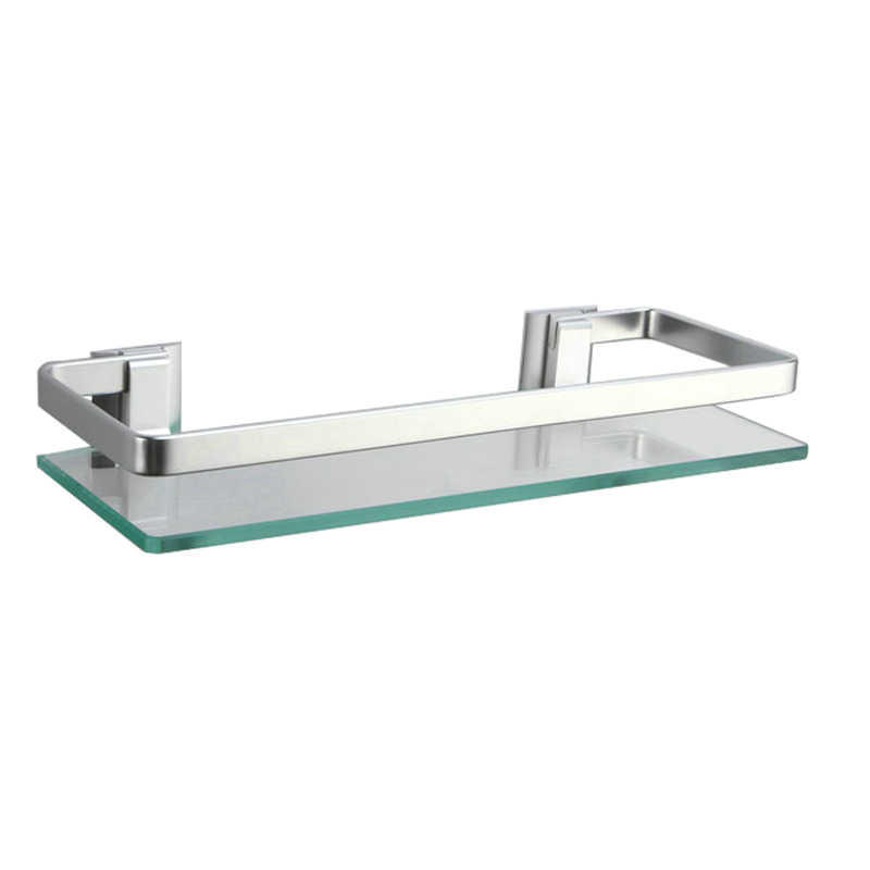 kes a4126a aluminum bathroom glass rectangular shelf wall mounted