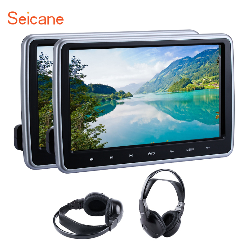 Seicane 2pcs 10.1 1024*600 Monitor Touch Headrest Car DVD Player MP5 IR FM Transmitter with 32 Bit Games controlers earphones