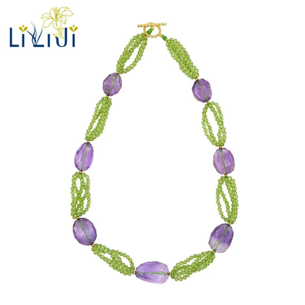 LiiJi Unique naturel réel minuscule péridots améthystes perles 925 en argent Sterling couleur or brillant collier pour femmes bijoux