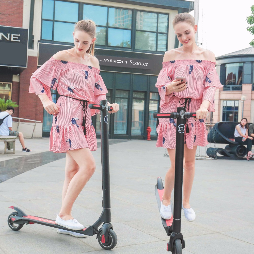 NEW JASION 36V 6 inch ES Smart Electric Scooter foldable Rear Suspension long board hoverboard 30KM skateboard 2017 36v 10a speedway mini iv scooter with dual suspension