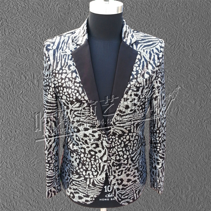HOT 2016 New men clothing GD BIGBANG right Zhi Long concert silver sequined leopard suit nightclub singer stage costumes Blazers