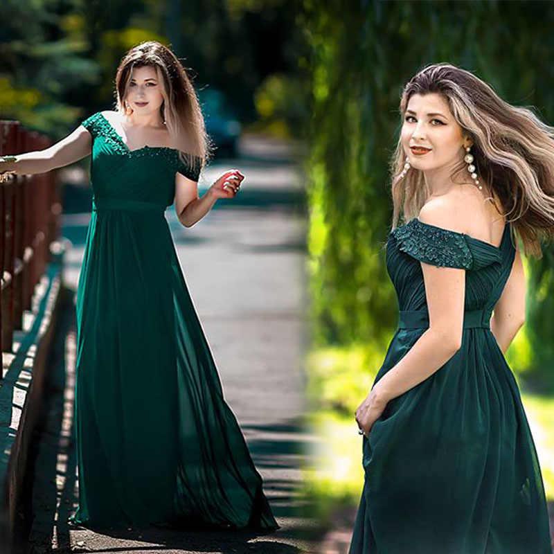 Vestidos de Festa de casamento Plus Size Vestidos de Noite 2019 das Mulheres Elegante Longo Com Decote Em V Sem Mangas A-line Chiffon Evening Vestidos