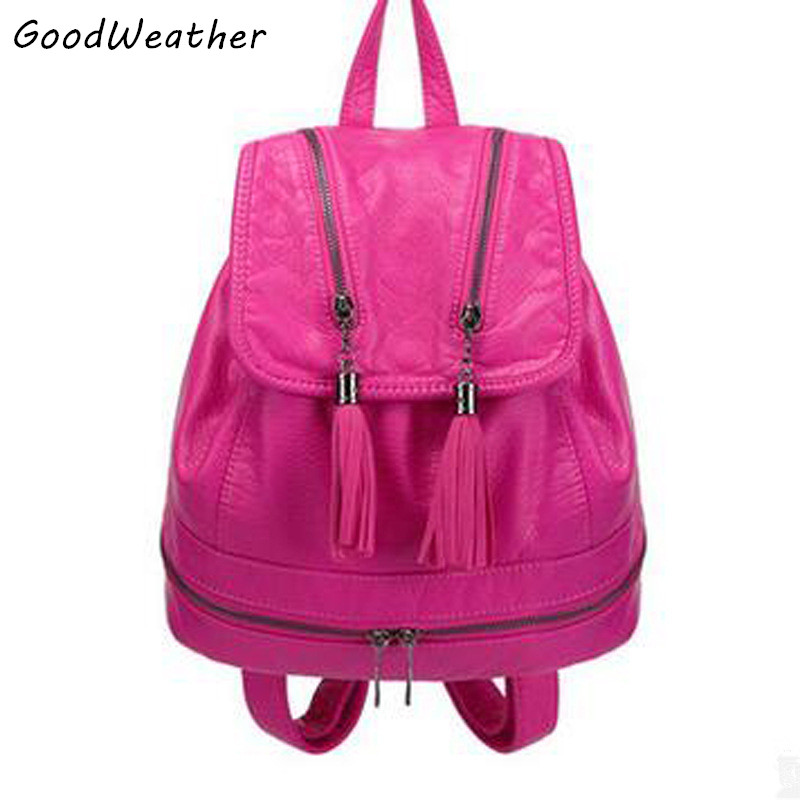 ФОТО Designer fringed women backpack washed PU leather colleage bags fashion rose tassel bags large capacity ladies travel backpacks