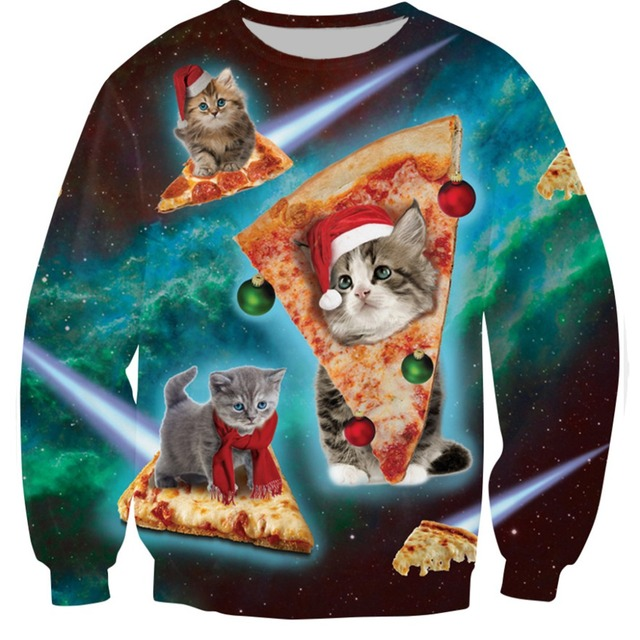 35a57a8625f 2018 Spring Autumn Funny Clothes For Women Tracksuit Meowy Christmas 3D  Printed Sweatshirt Woman Female Pullover