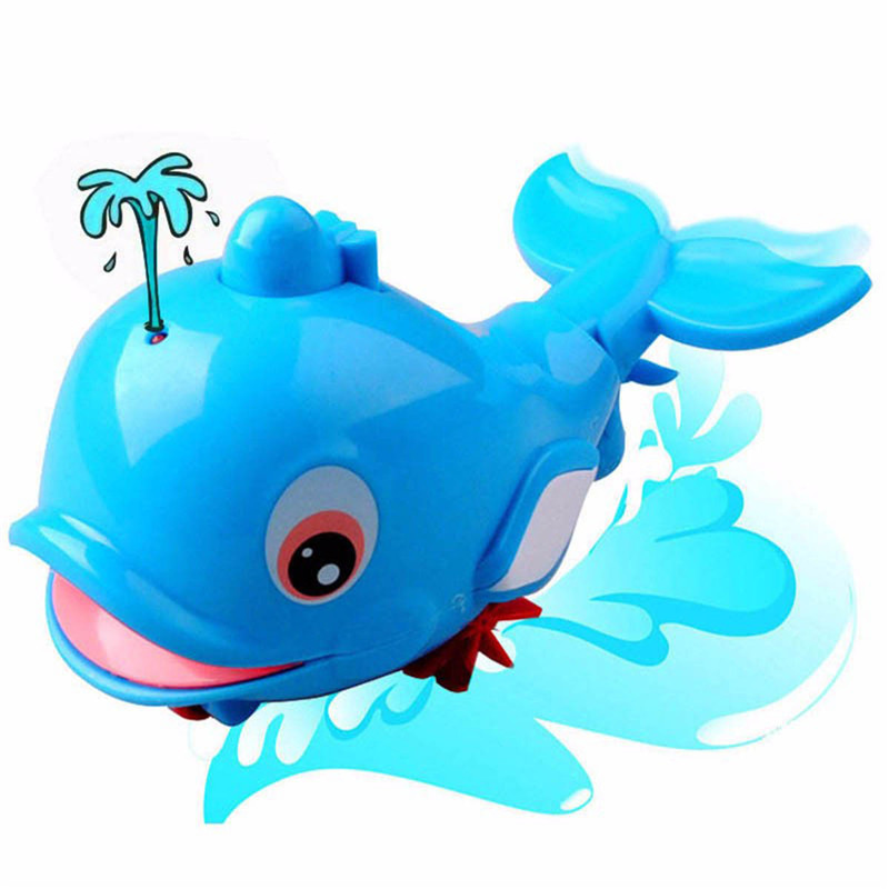 1 PCS Lovely Dolphin Animal Toys In The Bathroom Baby Bath Water Toys Clockwork Classic Educational Toy For Children