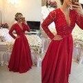 WM9308 Red Manga Comprida A Linha Mãe dos Vestidos de Noivas Para Convidado do casamento Formal Vestidos Mulheres 2016 com Decote Em V Sheer Voltar Lace
