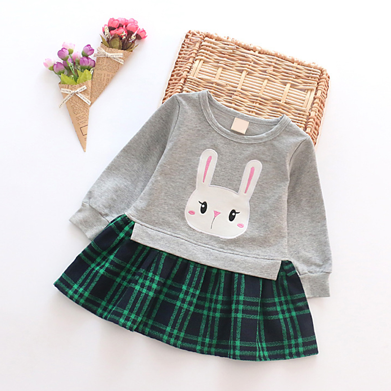 New Spring Autumn Girls Dresses Cotton Rabbit Dress For Girl Lattice Princess Clothes For Girl Toddler Costume Children Clothing