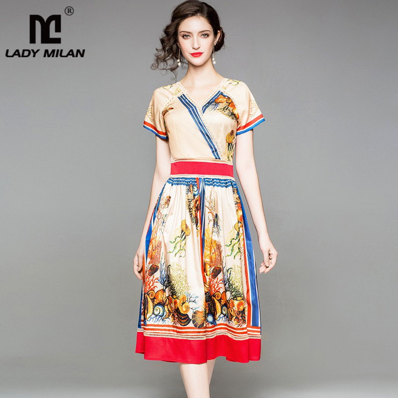 2018 Womens Sexy V Neck Short Sleeves Floral Printed Hollow Out High Street Fashion Summer Dresses